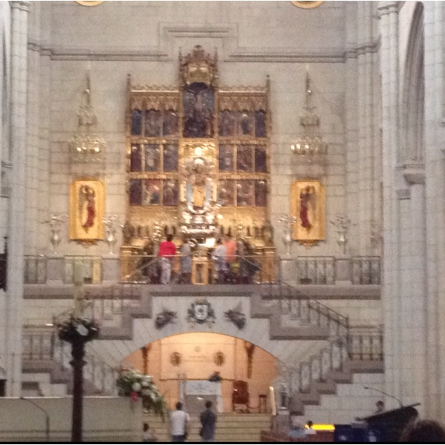 Altar for Mary at the Cathedral in Madrid Spain