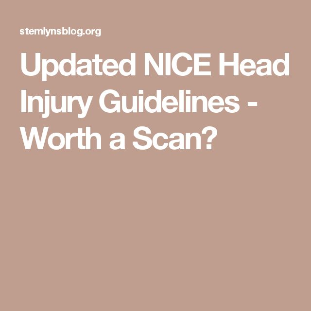 Updated NICE Head Injury Guidelines - Worth a Scan?
