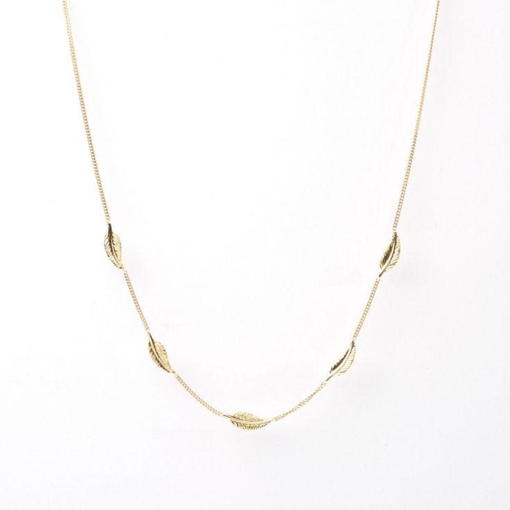 #Bijou Femme :: #Collier 4 petites #plumes - Disponible en #Or Blanc ou en Or Jaune.