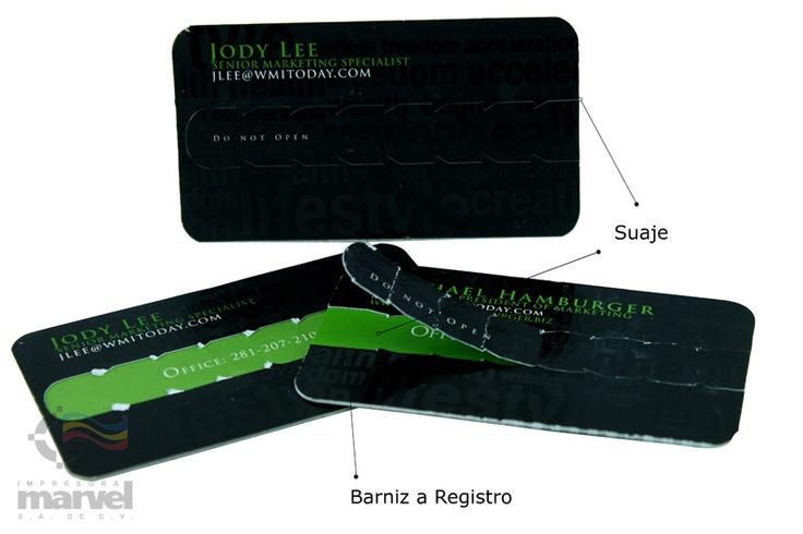 Tarjeta de presentacion impresa en doble cartulina sulfatada.