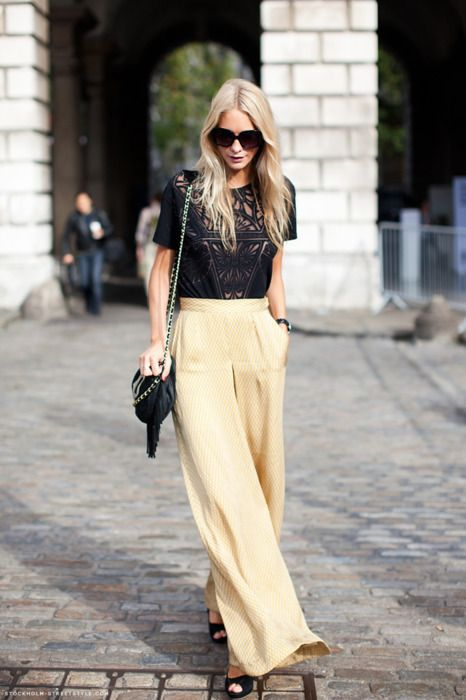 I like the black top.: Outfits, Wide Legs Pants, Fashion, Lace Tops, Trousers, Palazzo Pants, Clothing, Street Style, Poppies