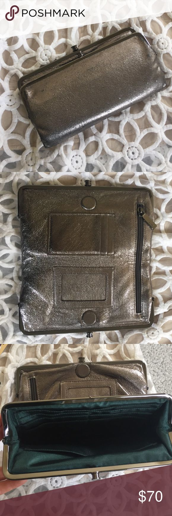 Hobo Wallet | Lauren Charcoal sparkly Gray hobo wallet. Used for only 6mo. No damages, just signs of minimal wear since it's real leather. Looks new! Double clutch. Zipper in middle. Magnet keeps wallet closed. HOBO Bags Wallets