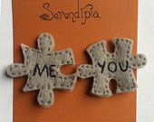 MeYou Jigsaw-Puzzle-Piece Felt Pins would be really cute made out of silver & gold