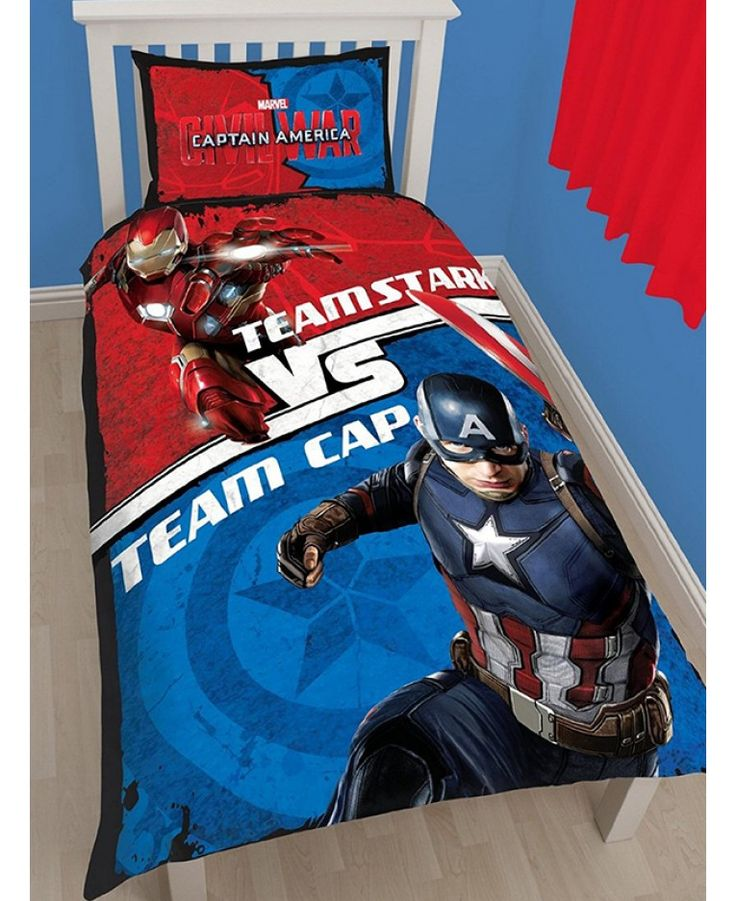 This Marvel Captain America Civil War Single Duvet Cover Set features Captain America and Iron Man and is reversible too.