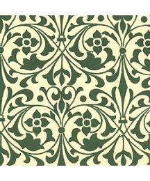 Green Stylized Flower Print Italian Paper ~ Carta Varese Italy