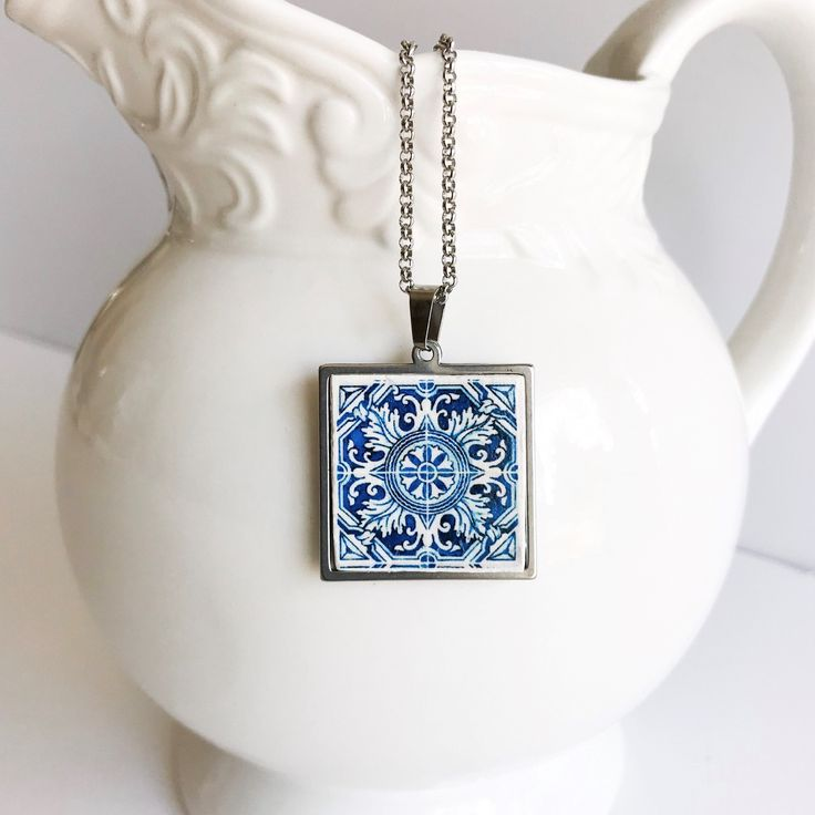 Teenage Girl Gifts Trending Now Portugal Tile Necklace with 16 Inch Silver Chain Portuguese Jewelry Sister Gift Ideas AZULEJO NECKLACE
