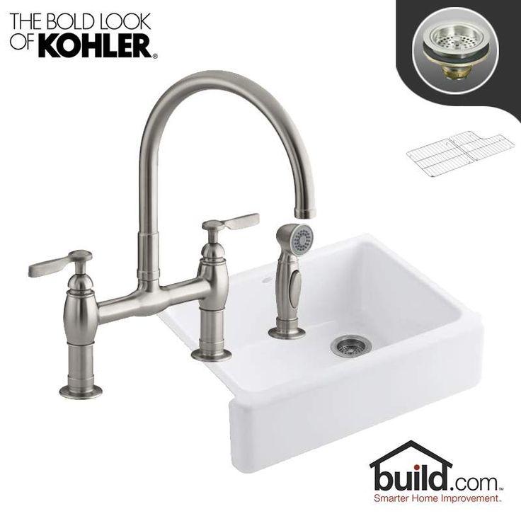 "Kohler K-6487/K-6131-4-VS Vibrant Stainless Faucet Whitehaven Kitchen Kit with 29-11/16"" Cast Iron Single Basin Farmhouse Kitchen Sink and Kitchen Faucet - Includes Basket Strainer and Basin Rack"