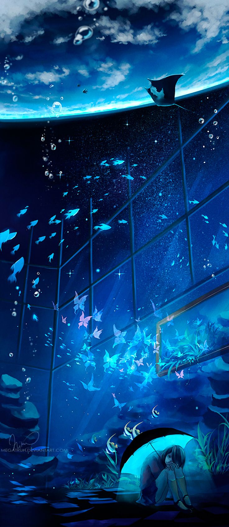 "The World. ""animal"" ""butterfly"" ""night"" ""sad"" ""scenic"" ""skirt"" ""stars"" ""umbrella"" ""underwater"" Artist: ""Megatruh"""