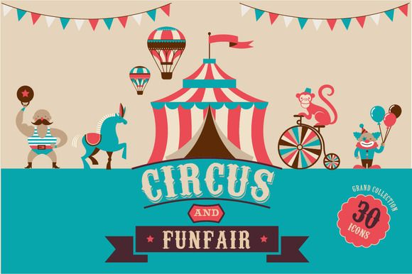 Check out Circus & Funfair icons  templates! by Marish on Creative Market