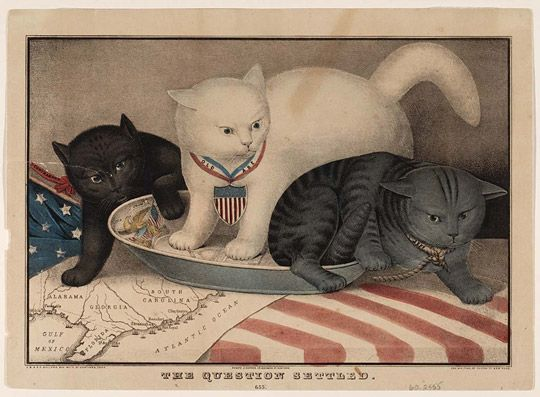 """A #MuseumCats item from our collections: In the 19th century, cats were sometimes depicted in popular illustrations on subjects much weightier than today's memes. In this circa 1866 lithograph titled """"The Question Settled,"""" three cats vie for a single saucer. These felines represent Jefferson Davis, """"contraband"""" (formerly enslaved people), and President Abraham Lincoln fighting for control of the American South in the wake of the Civil War."""