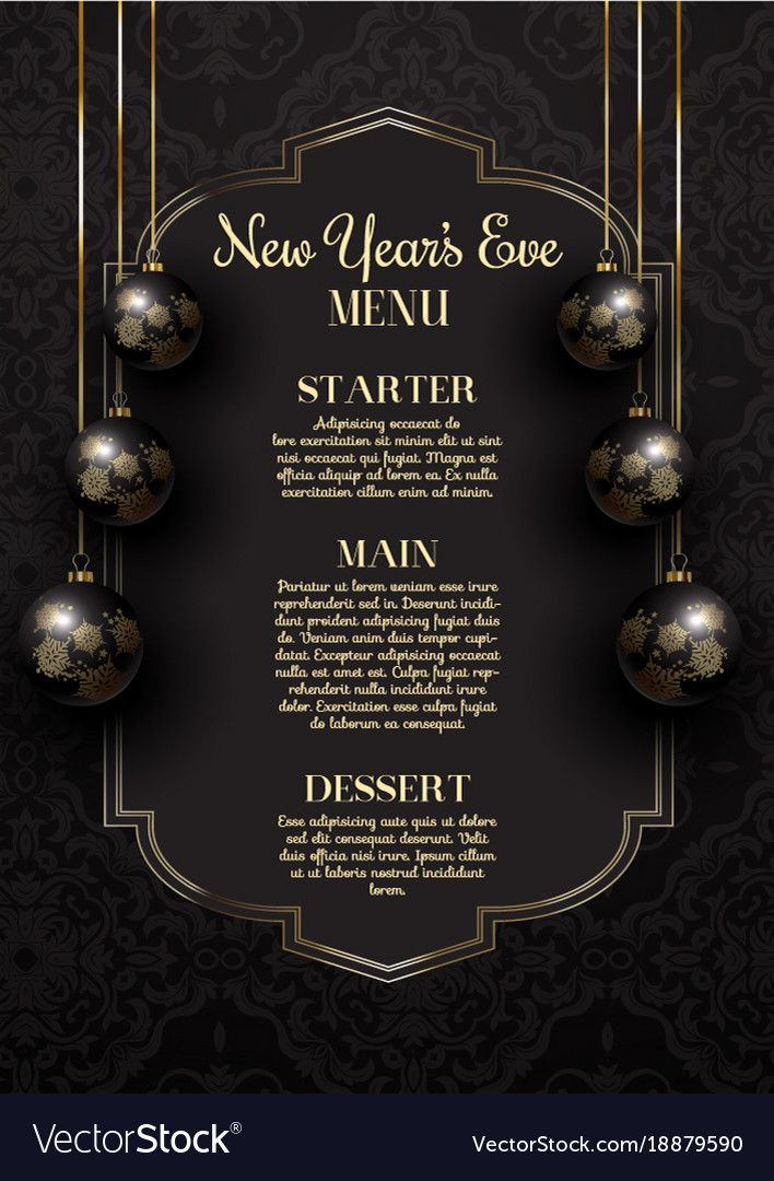 Luxurious Elegant New Year S Eve Menu Design With Hanging Baubles Download A Free Preview Or High Quality Adobe I New Years Eve Menu Menu Design New Year Menu