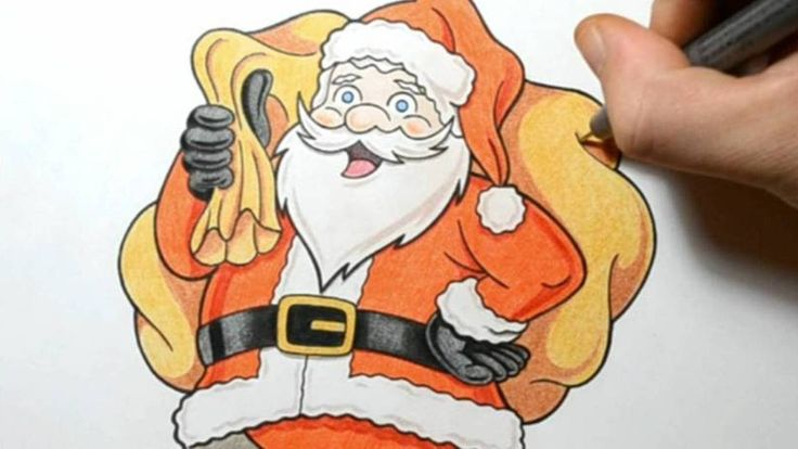 How I Draw Santa Claus - Cute Cartoon Style Drawing