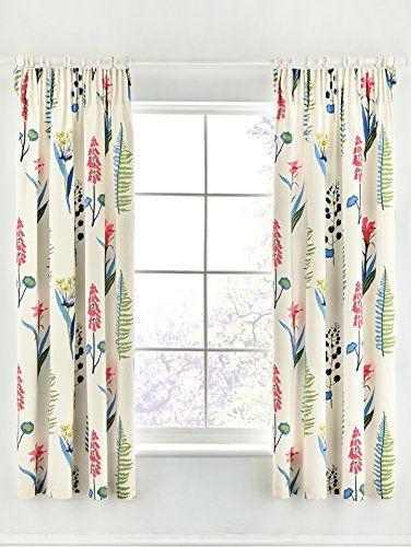 Sanderson Home Floral Bazaar Lined Curtains, Raspberry