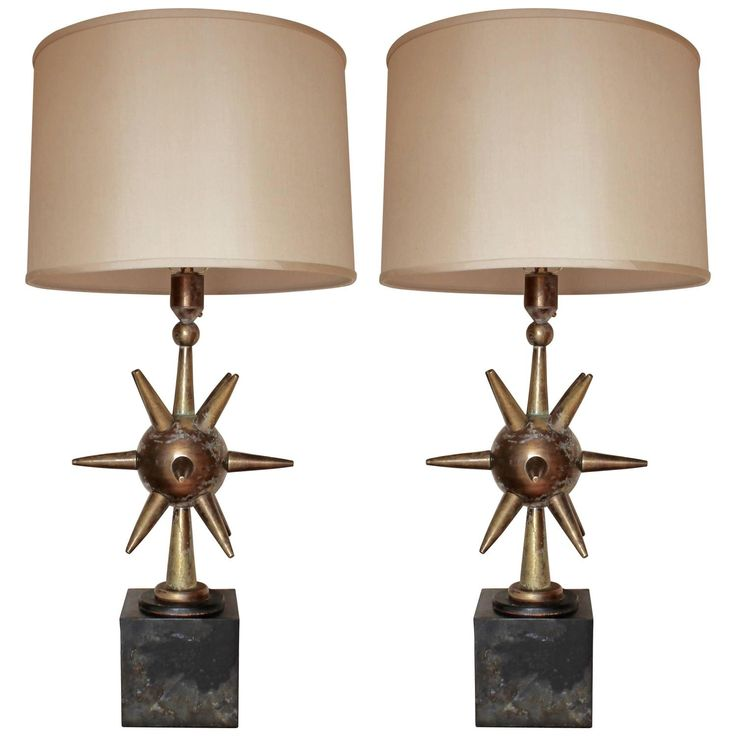 stunning pair of solid brass lamps by arturo pani mexico brass lampmodern table - Modern Table Lamp