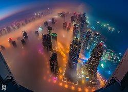 Drapacze, Chmur, Mgła, Dubaj, Panorama, Miasta