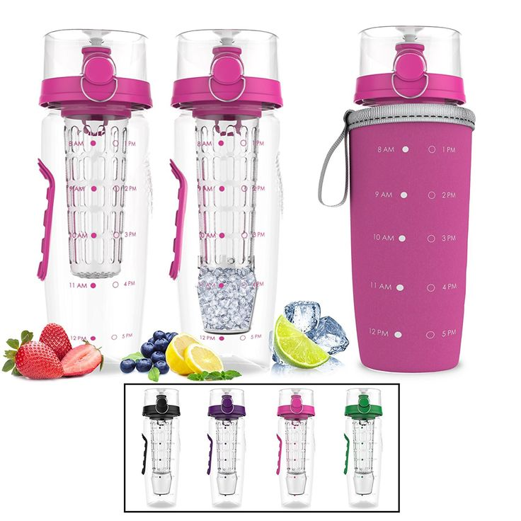 Bevgo Infuser Water Bottle – Large 32oz Hydration Timeline Tracker Detachable Ice Gel Ball With Flip Top Lid Quit Sugar Save Money Multiple Colors with Recipe Gift Included Pink