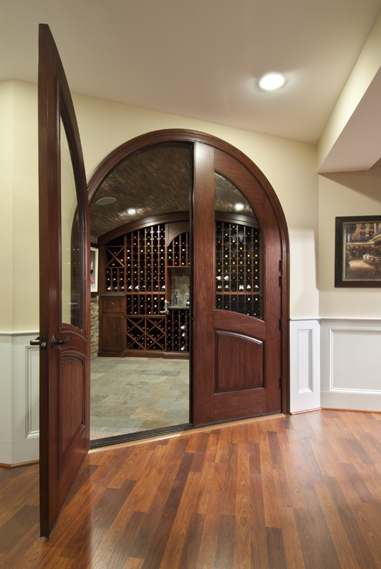 Custom Mahogany Entry to wine cellar