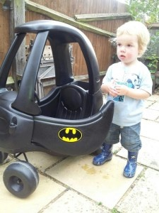 Custom Little Tykes Cosy Coupe made into a Batman Car!!