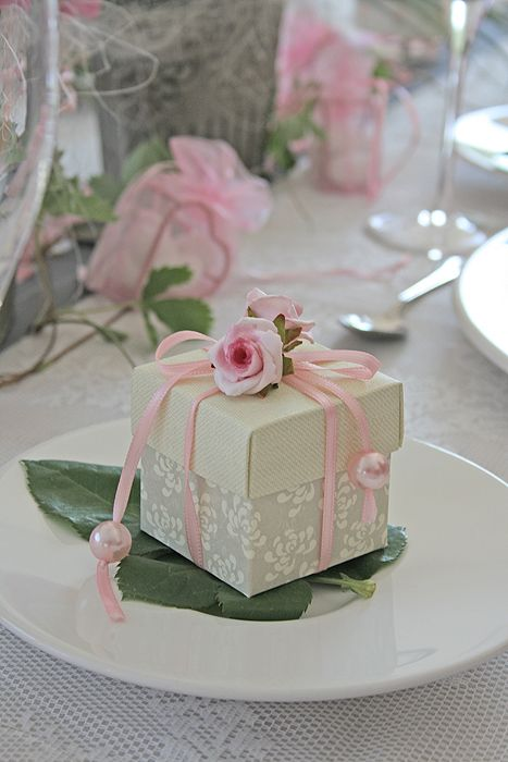 Decorated wedding favor box.
