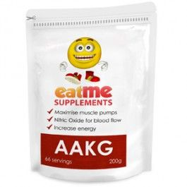 Eat Me AAKG Powder 200g from Superior Supplements Arginine alpha-ketoglutarate (AAKG) is a powerful vasodilator that stimulates the body to produce Nitric Oxide. AAKG increases muscle size and strength, and results in massive muscle-swelling pumps that look and feel great.Experience intense muscle pumps, making muscles literally feel and look larger and harder from the very first dose of AAKG.
