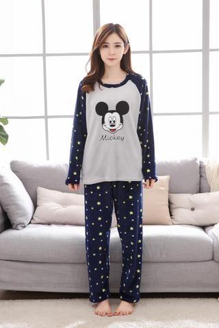 On sale women ladies cotton mickey stars printed lovely sleep pajamas suit  Female nightgown Cartoon home set clothes  02bfa0008