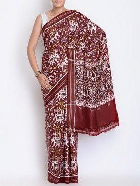 Maroon-White Silk Double Ikat Patan Patola Silk Saree