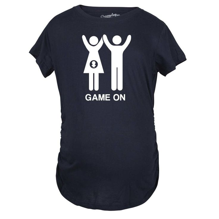 Maternity Game On Couple Tee Expecting Baby Bump Pregnancy Announcement T-shirt (M), Women's, Blue (printed)