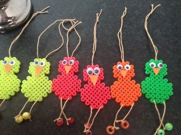 Chicken pixel/perler beading crafts