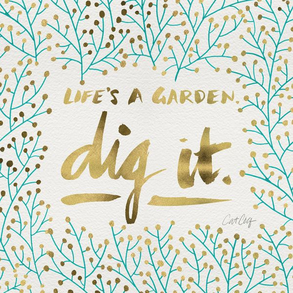 Dig It – Gold & Turquoise Art Print