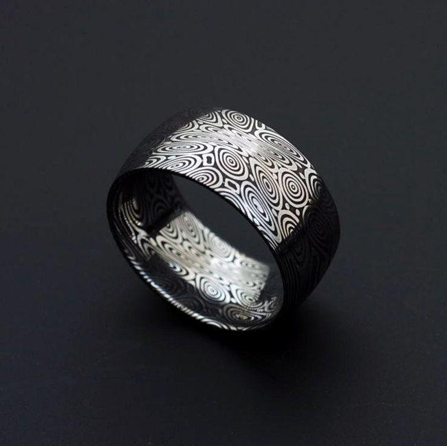 Stainless Damascus Steel Men's Ring