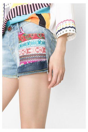 Denim Desigual Shorts Ethnic Super Short