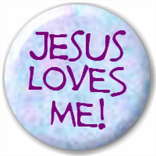 Small 25mm Lapel Pin Button Badge Novelty Jesus Loves Me