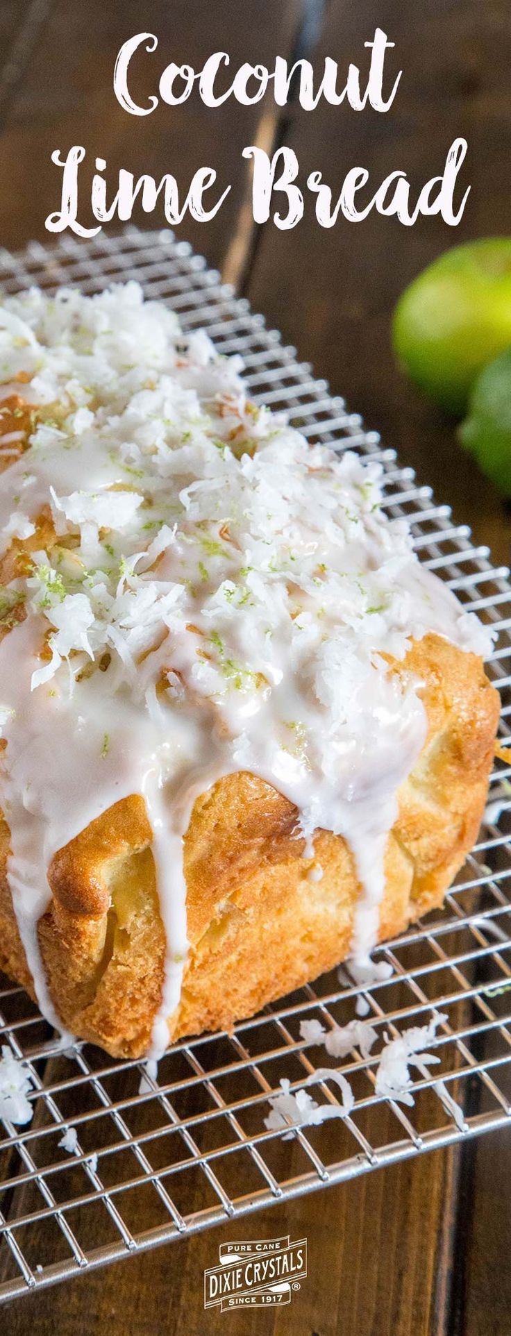 Coconut Lime Bread-Transport yourself to the tropics any time of year with this soft and tender Coconut Lime Bread. Sweetened coconut flakes and fresh lime zest are mixed throughout both the bread and the glaze. There's a little slice of paradise in every bite of this sweet treat. Serve for dessert or brunch. It makes a yummy treat mid-morning or afternoon for a snack with tea or coffee as well.