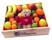 I Love You Hamper with Message Bear http://www.igiftfruithampers.com.au/valentines-day-gifts #valentinesgift #valentinesday #valentineshamper #fruithamper #fruitbasket