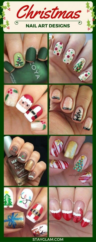 Christmas Nail Art Designs. Santa, Christmas trees, French manicure tips, candy canes, reindeer.
