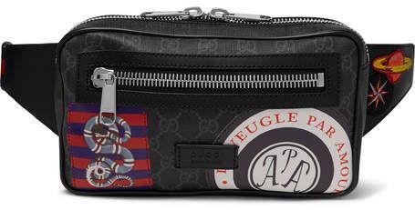 b6c8ab67a74 Gucci Appliquéd Leather-Trimmed Monogrammed Coated-Canvas Belt Bag ...