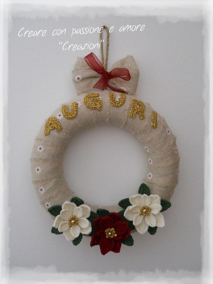 Ghirlanda natalizia by https://www.facebook.com/CreareconpassioneeamoreCreazioni/ #crochet #handmade #ChristmasDecorations #lemaddine