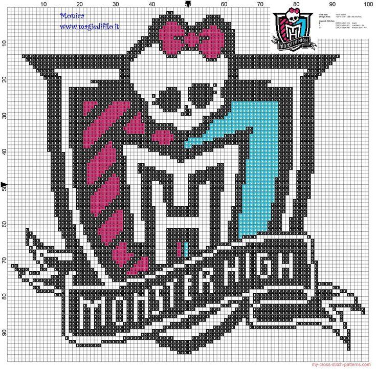 Logo Monster High cross stitch pattern