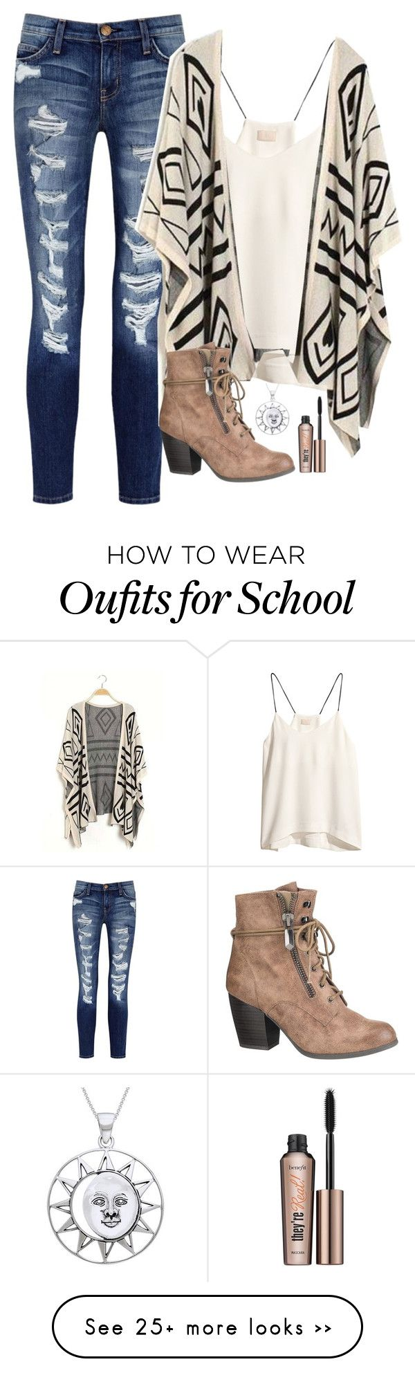 """""""first day of school is over! very similar to what I wore!"""" by mads-thompson on Polyvore featuring moda, Current/Elliott, H&M, maurices, Carolina Glamour Collection y Benefit"""