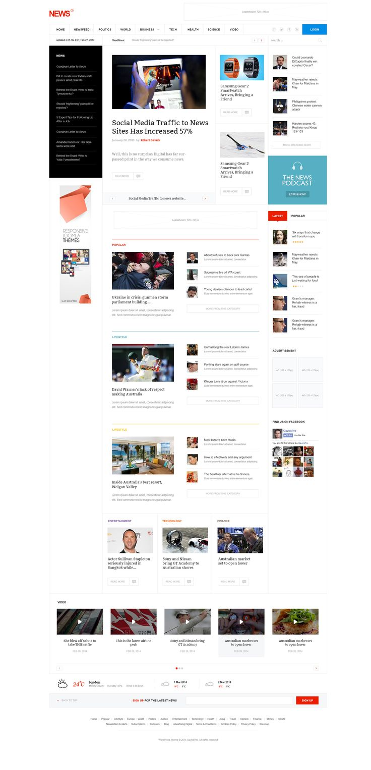 News / Magazine WordPress Theme http://dribbble.com/shots/1445257-News-WordPress-Joomla-Theme