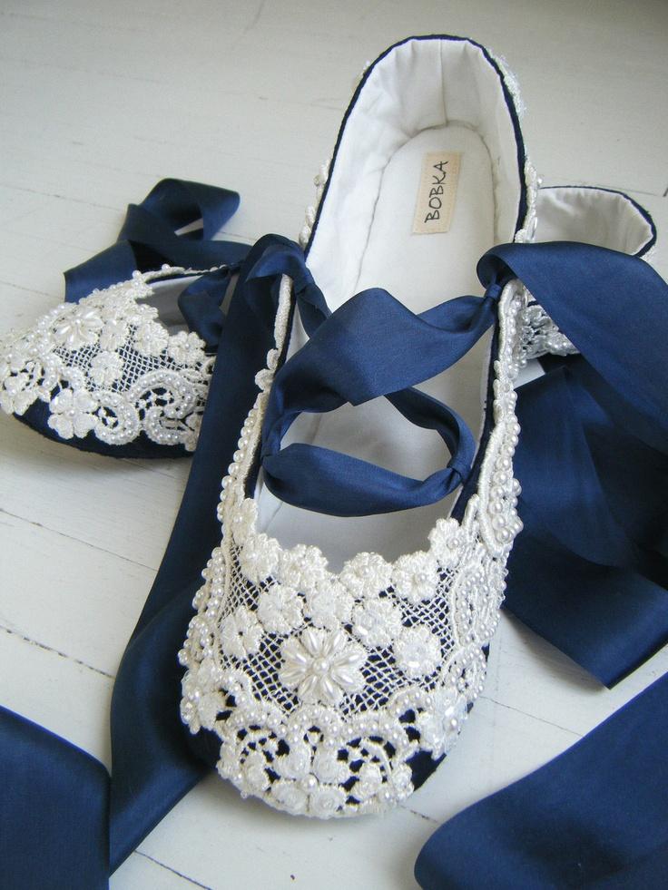 Navy Wedding Flats Shoes