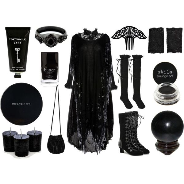Keeper of Shadows by maggiehemlock on Polyvore featuring SELECTED, Mes Demoiselles..., HYD, Funtasma, Don't Ask Amanda, Accessorize, Stila, Witchery, Tokyo Milk and Butter London
