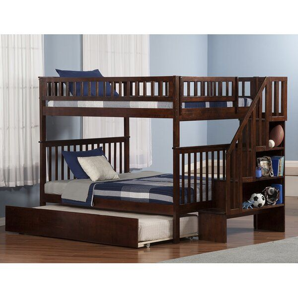 Shyann Staircase Full Over Full Bunk Bed With Trundle In 2020 Bunk Bed With Trundle Bunk Beds With Stairs Atlantic Furniture