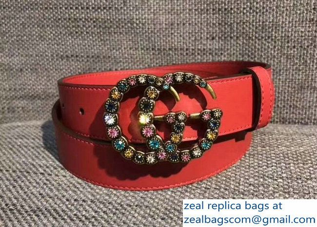 a7badba8c Gucci 3cm belt red with multicolor crystals buckle 2018_2803115306 ...