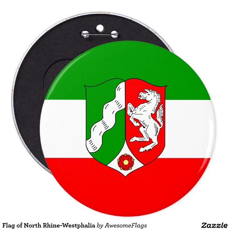 Flag of North Rhine-Westphalia 6 Cm Round Badge