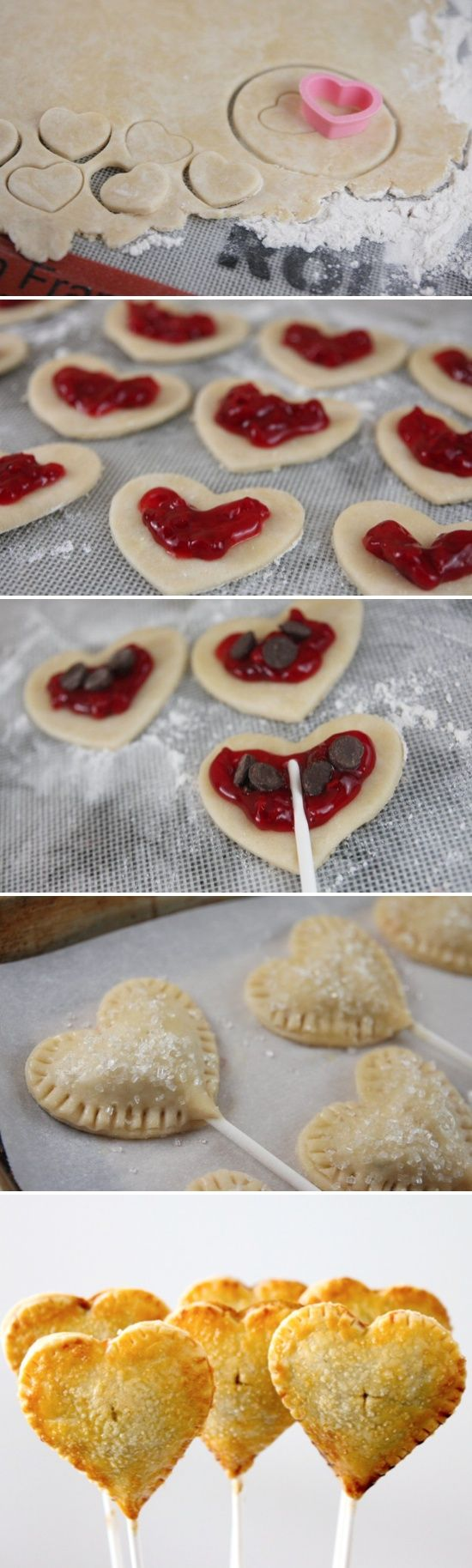 heart pie pops: precious. perfect for Valentine's Day