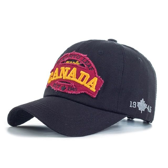 New Fashion Cotton Baseball Cap Canada Letter Embroidery Cap Leisure Snap back Hat For Men & Women High Quality Travel Caps