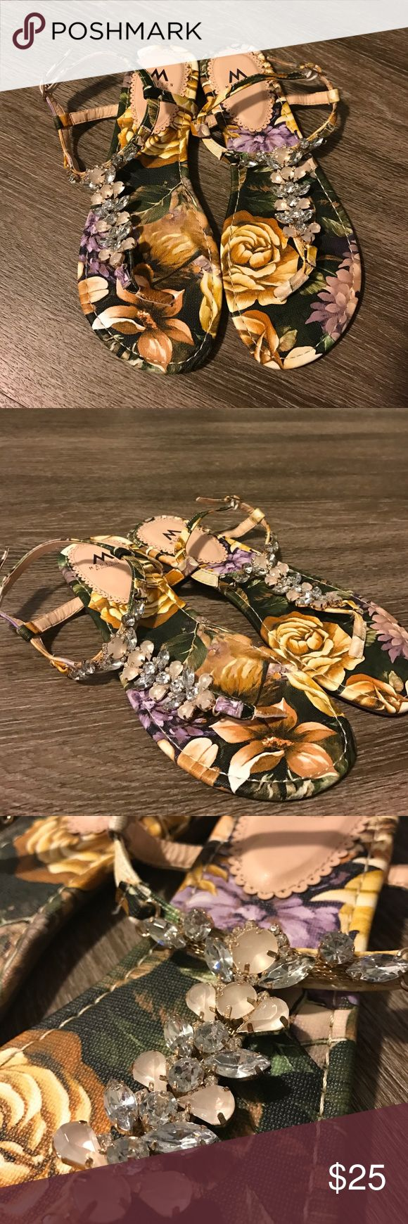 Madison by Shoe dazzle floral jewel sandals Floral pattern with embellished jewels on t-strap. Perfect for bridal sandals or just for dressing up a simple outfit! Size 7.5 Shoe Dazzle Shoes Sandals