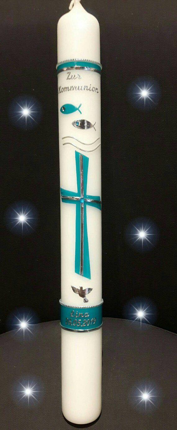 Kommunionkerze 40×4 cm reinweiss 40×5 cm elfenbein Jungen Mädchen Taube Fisch Kreuz türkis