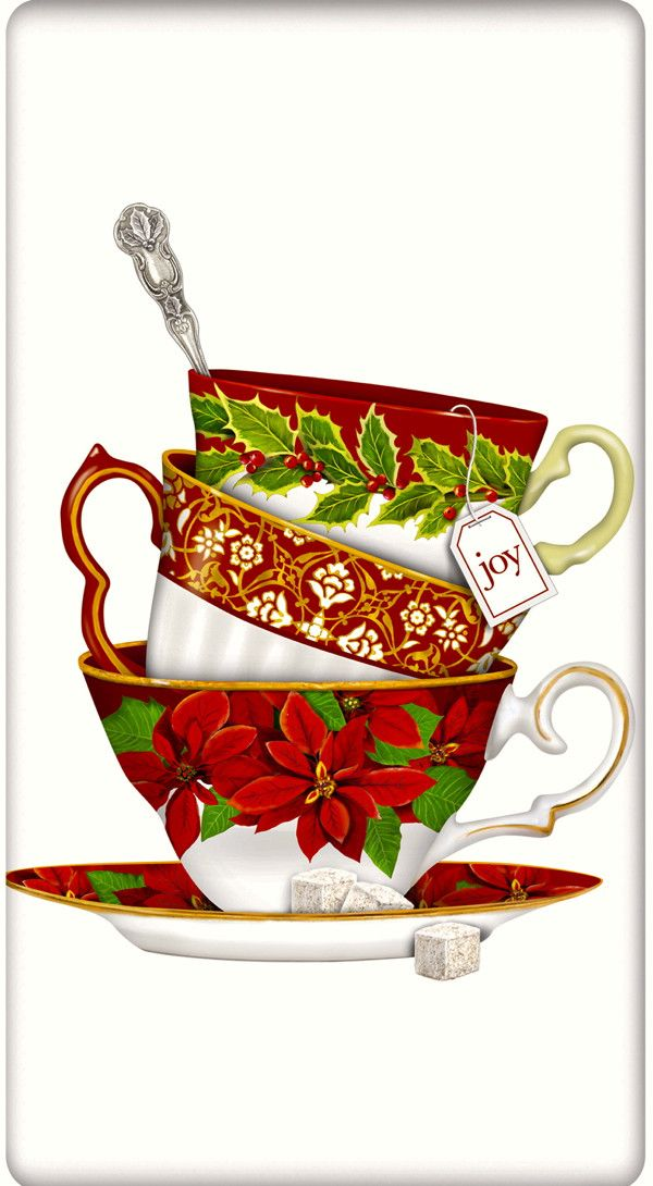 Christmas Joy Teacups 100% Cotton Flour Sack Dish Towel Tea Towel